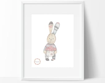 Basket of Flowers Bunny Wall Print_0034WP