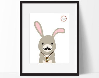 Hipster Woodland Rabbit Wall Print_0043WP