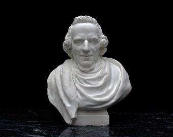 Sculpture, MOSES MENDELSSOHN, German Jewish Philosopher, a bust made by Antoine Tassaert 1785, plaster of Paris