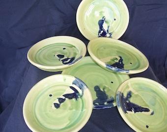 Set of Six  Ceramic Green & Blue  dessert serving dishes