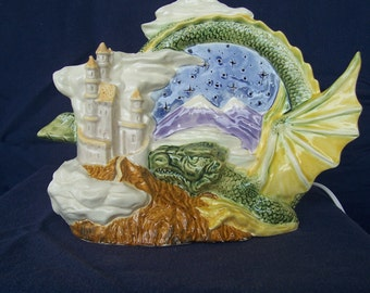 Ceramic Dragon & Castle night light