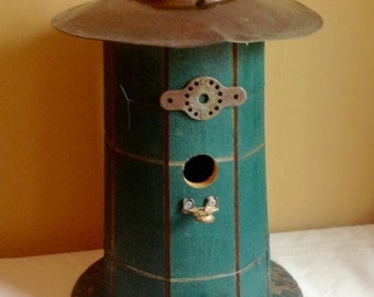 Round green birdhouse