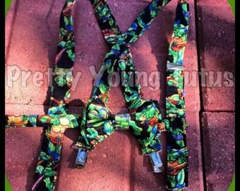 Ninja turtle suspenders bowtie