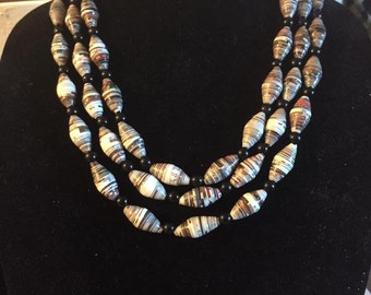 Fall Colored Handmade Paper Bead Necklace