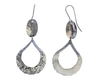 "Hammered Silver earrings dangling Teardrop with amino-handmade-""free shipping"""