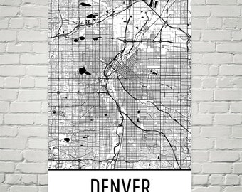 Denver Map, Denver Print, Denver Art, Denver Colorado Poster, Denver Wall Art, Map of Denver CO, Decor, Art, Gift, Denver Map Print