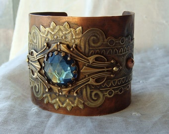 Neo Victorian Cuff Bracelet Mixed Metal Assemblage Tribal Gypsy Style Copper Montana Blue Cab Bohemian