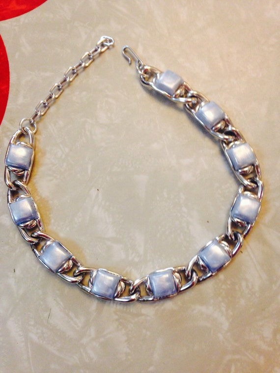 60 s thermoset baby blue necklace
