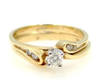 Two 14k Gold Diamonds Wedding Band & Engagement Ring