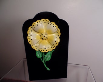 Large and Colorful Enameled Flower Brooch Signed Hedy