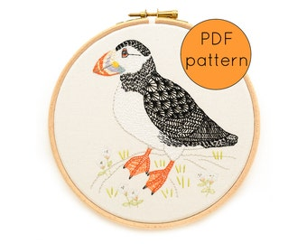 Hand Embroidery Pattern PDF Download, Puffin bird embroidery pattern