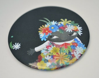 Flower Girl pocket mirror with protective bag