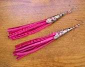 "6"" long Bright Pink leather fringe tassel earrings with iridescent gunmetal filigree cones, Czech crystal beads  and French hooks"