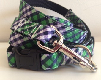 5/8 inch Blue and Green Plaid Dog Leash and Collar Set