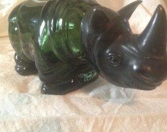 African Rhino Cologne Bottle Avon Dark Green Retro Vintage Home Decor 1970s