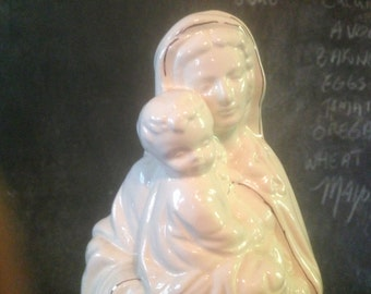 Madonna Virgin Mary Statue Mother & Child Gilded Tall White Ceramic Vintage Home Decor For Your Sacred Space 1970s