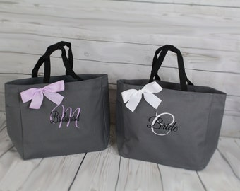 11 Personalized Bridesmaid Tote Bags- Wedding Party Gift- Bridal Party Gift- Initial Tote- Mother of the Bride Gift