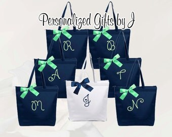 Bridesmaid Gift, 6 Personalized Zippered Tote, Bridesmaid Gift Set, Bridesmaid Gifts- Personalized Tote Bag, Wedding Party Gift