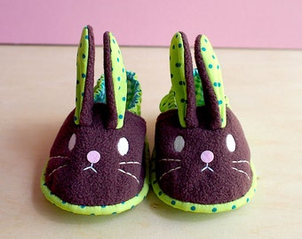 Bunny Baby Shoes, Rabbit Baby Shoes, Baby Booties, Elastic Baby Shoes,  Fabric Baby Booties, Infant Shoes, Infant Booties, Chubby Bunny 06