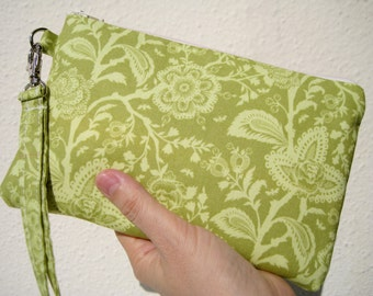 Wedding Clutch 2 pockets green,medium,cotton, wristlet, -- French lace in green