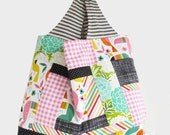 Patchwork Tote Bag | Reusable Grocery Bag | Reversible Market Shopping Tote | Knit Crochet Project Tote Bag