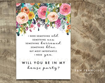 Will you be in my HOUSE PARTY Card |  Size A7 or 5x7, Flat and Folded Card | Printable PDF, Instant Download