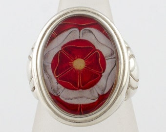 Tudor Rose Cameo Style Ring (Sizes 5-10 w/ half sizes)
