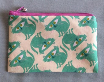 Leeny Happy Cats Pouch Wallet Makeup Bag