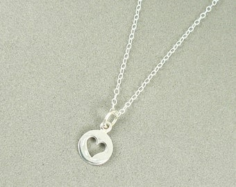 Tiny heart cutout charm necklace sterling silver jewelry sterling chain