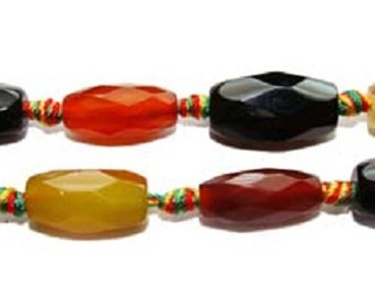 Multi Color Agate Faceted Barrel Gemstone Beads