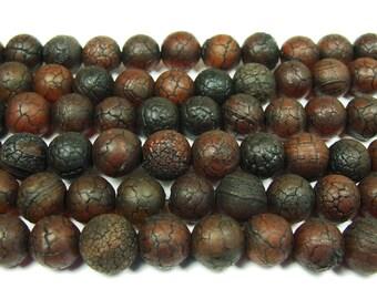 Antiqued Dark Red Agate Round Gemstone Beads