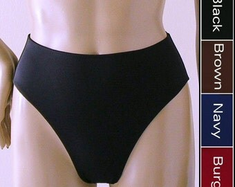 80s High Waisted Bikini Bottom with High Leg in Black, Navy Blue, Brown, Burgundy in S.M.L.XL.