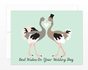 Ostrich Wedding Day Card - Cute Congratulations Greeting Card, Happy Couple Card, Cheers Card, Congrats Card, Friend Card, Funny Wedding
