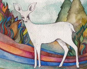 White Deer Original Watercolor by Megan Noel