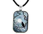 Raven in Denim Blue Crow Pendant Black Bird Necklace Zen Moon Tree Branches Monochrome Pagan Wiccan Gypsy Unisex Men's Handmade Jewelry