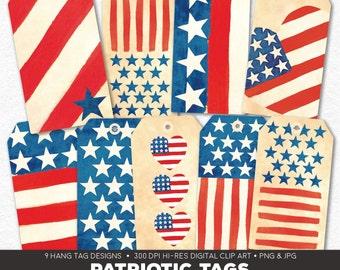 Digital Collage Sheet • Patriotic Printable Hang Tags • 9 Instant Download Hangtag & Gift Tag Designs • JPG PNG