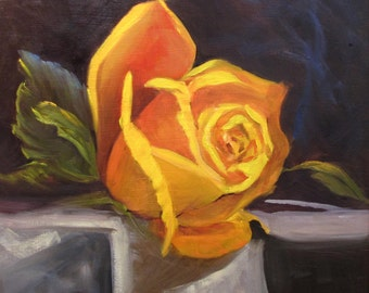 Yellow Rose Framed Floral Barbara Haviland BarbsGarden, Texas Artist