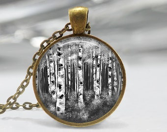 Black and White Birch Pendant, Birch Forest Pendant, Birch Necklace, Birch Art Pendant, Bronze, Silver, Birch Tree Jewelry, 001