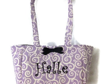 Monogrammed Little Girls Purse Bag Handbag Handmade in USA Purple Tote