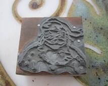 Vintage Letterpress Printers Block Santa Claus Face