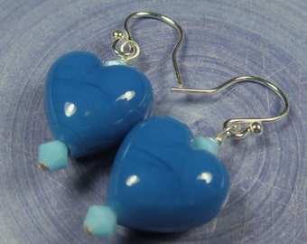Electric blue puffy heart earrings Sterling silver