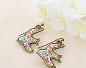 Flower Bird Earrings Wings of Flowers - Sparrow Earrings - Swallow Earrings - Retro Inspired
