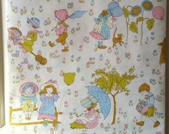 Vintage Childrens Wallpaper Images- Packet of Pink, Blue Sunbonnet Children Wallpaper, Collage, Assemblage, Paper Cuts, Decoupage Papers