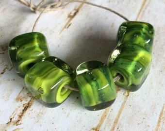 Lampwork Green Cube Beads