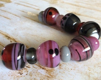 Handmade Lampwork Bead Set Pink and Gray