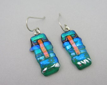Long Emerald garden dangle fused dichroic glass earrings sterling silver ear wires Fused Glass jewelry patchwork strips green glass jewelry