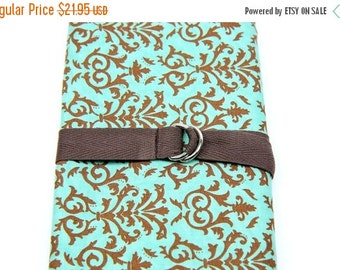 Sale 25% OFF Short Knitting Needle Organizer Case - Brown and Teal Paisley - 24 brown pockets for circular, double pointed, interchangeable