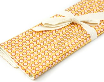 Knitting Needle Case - Modern Happy Dots - IN STOCK Large Organizer 30 ivory pockets for straights, circulars, dpns and notions