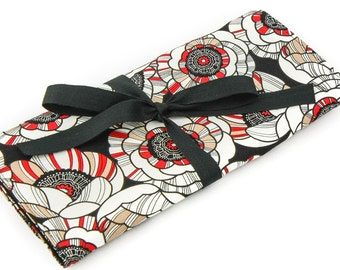 Short Knitting Needle Organizer Case - Tempo - 24 black pockets for circular, double pointed, interchangeable or travel