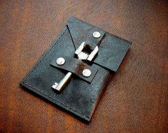Leather Business Card Holder with Vintage Key Closure - Business Card Case - Dark Brown Distressed Leather Card Wallet